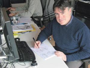 Il designer emiliano Giorgio Aldini al lavoro. Nel nome del suo studio, Xform, il segno grafico della X