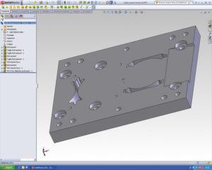 Uno dei programmi usati da CSTI per lo sviluppo degli stampi è SolidWorks 3D. Ecco una fase di sviluppo dello stampo per il supporto ruota di un carrello industriale