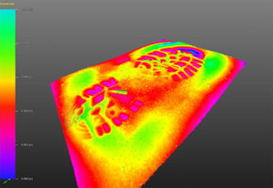 Color coded 3D height map of a footwear impression in sand