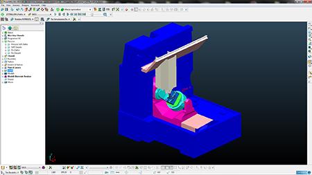 Simulazione, in ambiente PowerMILL di Delcam, di lavorazione Cam su centro CNC.
