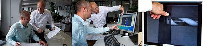 Siegfried Rogalla (a sinistra), Project Manager per l'ambito R&D Utensili di Foratura e Helmut Gschrey, Senior Product Manager per l'ambito Holemaking, con i primi schemi della DC170, alle simulazioni su schermo e alle prove di foratura nel plexiglas. Foto: Walter AG