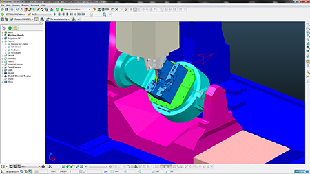 Dettaglio della simulazione virtuale in ambiente PowerMILL.