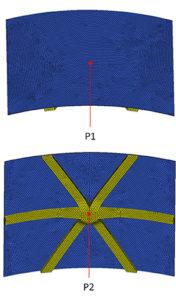 Figura 8. P1: superficie esterna skin; P2: punto nodale a contatto con lo stampo.