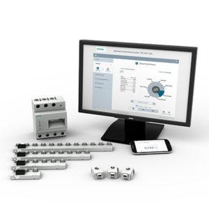 Das neue Strommesssystem 7KT PAC1200 sammelt über Sensorleisten und Datenmanager Messdaten von bis zu 96 Verbrauchern. The new 7KT PAC1200 multichannel current measuring system gathers measured data from up to 96 consumers via sensor bars and data managers.