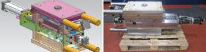 Progetto 3D e relativo stampo di componente tecnico (con tre cilindri oleodinamici) realizzato da Cospa.
