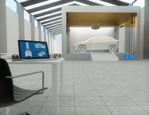 3d printer in factory, printing car