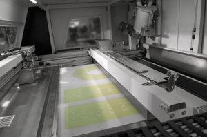 Area di lavoro della stampante sabbia.