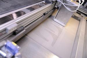 Area di lavoro della stampante metallo.
