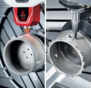 L'integrazione delle tecnologie di DMG MORI: deposito laser e fresatura a 5 assi perfettamente integrati per un'ottima qualità di superficie e perfetta precisione pezzo.