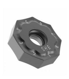 L 'inserto ottagonale a doppia faccia ha 16 taglienti efficaci, offrendo il minimo costo utensile per pezzo nel settore.